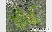 Satellite 3D Map of Yunnan, semi-desaturated