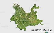 Satellite 3D Map of Yunnan, single color outside