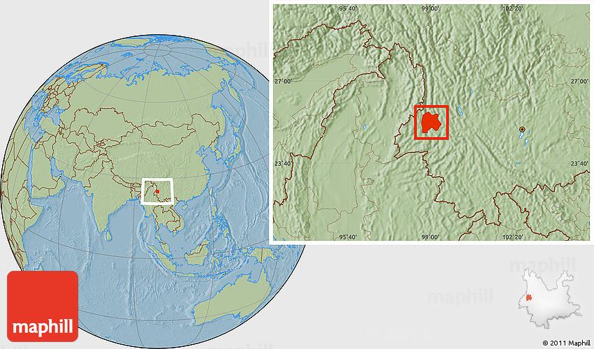 Savanna Style Location Map Of Baoshan Hill Shading - Baoshan map