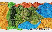 Satellite Panoramic Map of Baoshan, political outside