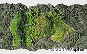 Satellite Panoramic Map of Baoshan, semi-desaturated