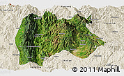 Satellite Panoramic Map of Baoshan, shaded relief outside