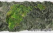 Satellite Panoramic Map of Changning, semi-desaturated