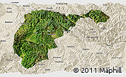 Satellite Panoramic Map of Changning, shaded relief outside