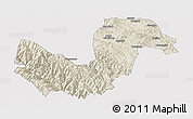 Shaded Relief Panoramic Map of Chuxiong, cropped outside