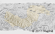 Shaded Relief Panoramic Map of Chuxiong, desaturated