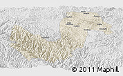 Shaded Relief Panoramic Map of Chuxiong, lighten, desaturated