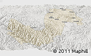 Shaded Relief Panoramic Map of Chuxiong, lighten, semi-desaturated