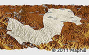 Shaded Relief Panoramic Map of Chuxiong, physical outside