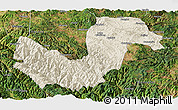 Shaded Relief Panoramic Map of Chuxiong, satellite outside