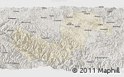Shaded Relief Panoramic Map of Chuxiong, semi-desaturated
