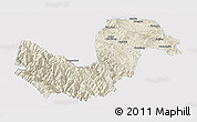 Shaded Relief Panoramic Map of Chuxiong, single color outside