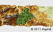 Satellite Panoramic Map of Daguan, physical outside