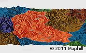 Political Panoramic Map of Dayao, darken