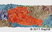 Political Panoramic Map of Dayao, semi-desaturated
