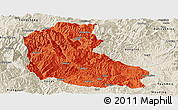 Political Panoramic Map of Dayao, shaded relief outside
