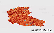 Political Panoramic Map of Dayao, single color outside