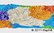 Shaded Relief Panoramic Map of Dayao, political outside