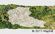 Shaded Relief Panoramic Map of Dayao, satellite outside