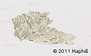 Shaded Relief Panoramic Map of Dayao, single color outside