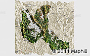 Satellite Panoramic Map of Deqen, shaded relief outside