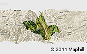 Satellite Panoramic Map of Dongchun Shi, shaded relief outside