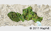 Satellite Panoramic Map of Eryuan, shaded relief outside