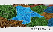 Political Panoramic Map of Eshan, darken