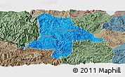 Political Panoramic Map of Eshan, semi-desaturated