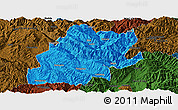Political Panoramic Map of Fengqing, darken