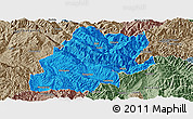 Political Panoramic Map of Fengqing, semi-desaturated