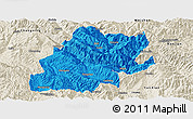 Political Panoramic Map of Fengqing, shaded relief outside