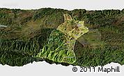 Satellite Panoramic Map of Gejiu Shi, darken