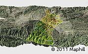 Satellite Panoramic Map of Gejiu Shi, semi-desaturated