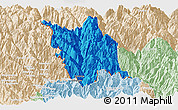 Political Panoramic Map of Gongshan, lighten