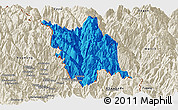Political Panoramic Map of Gongshan, shaded relief outside