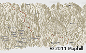 Shaded Relief Panoramic Map of Gongshan