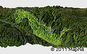 Satellite Panoramic Map of Hekou, darken