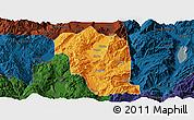 Political Panoramic Map of Heqing, darken