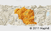 Political Panoramic Map of Heqing, shaded relief outside