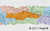 Political Panoramic Map of Honghe, lighten
