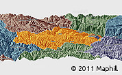 Political Panoramic Map of Honghe, semi-desaturated