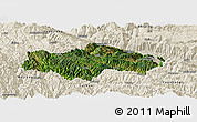 Satellite Panoramic Map of Honghe, shaded relief outside