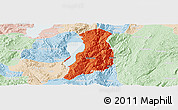 Political Panoramic Map of Huaning, lighten