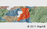 Political Panoramic Map of Huaning, semi-desaturated