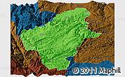 Political Panoramic Map of Huize, darken