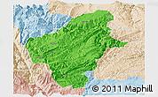 Political Panoramic Map of Huize, lighten