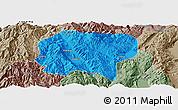 Political Panoramic Map of Jianchuan, semi-desaturated
