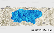 Political Panoramic Map of Jianchuan, shaded relief outside