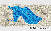 Political Panoramic Map of Jingdong, shaded relief outside